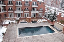 Pool and hot tub area in Winter.