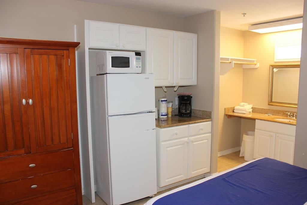 Large refrigerator, microwave