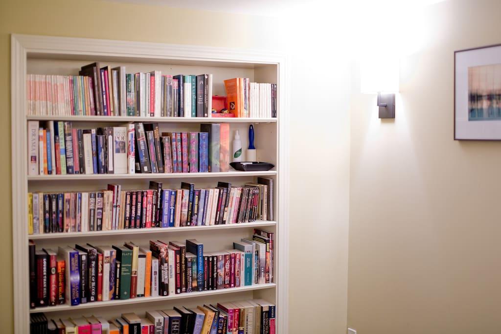 Bedroom bookshelf.