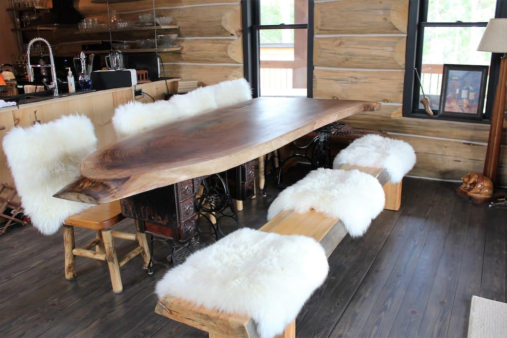 Main Floor dining room with custom made 9' walnut table