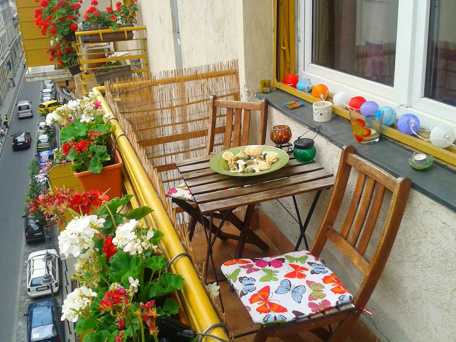 In the mornings, enjoy the sunlight and some breeze on our cozy balcony...