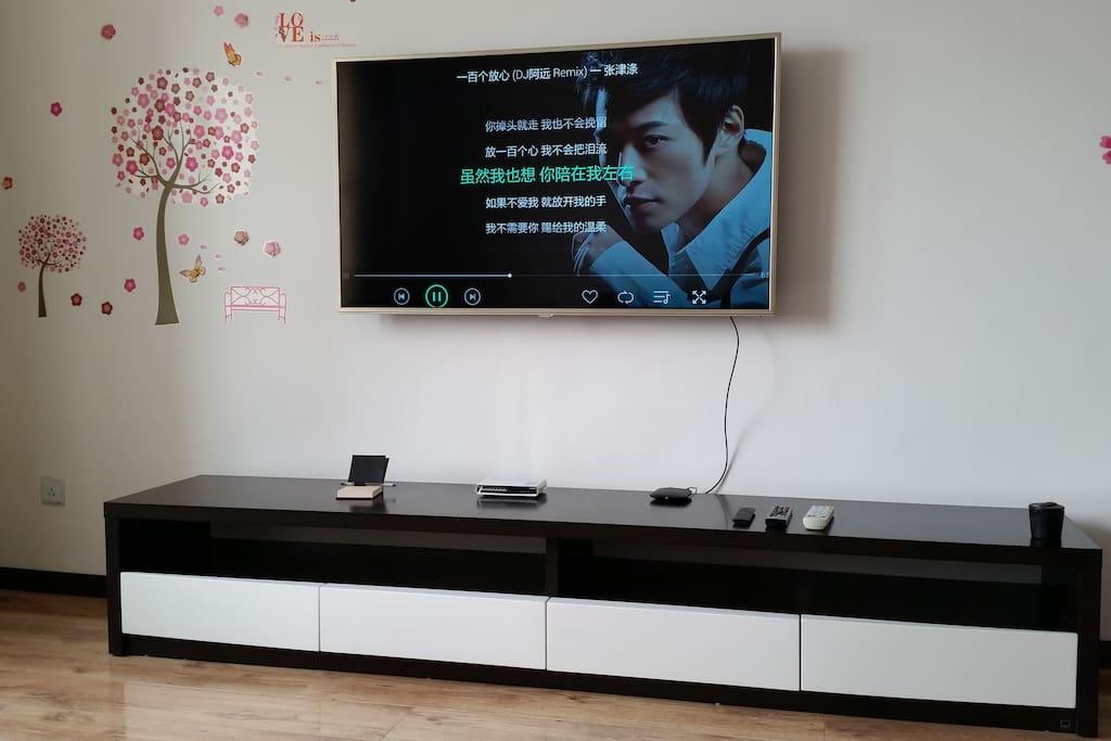 超大四个电视储物柜 TCL 55英寸只能电视 小米盒子