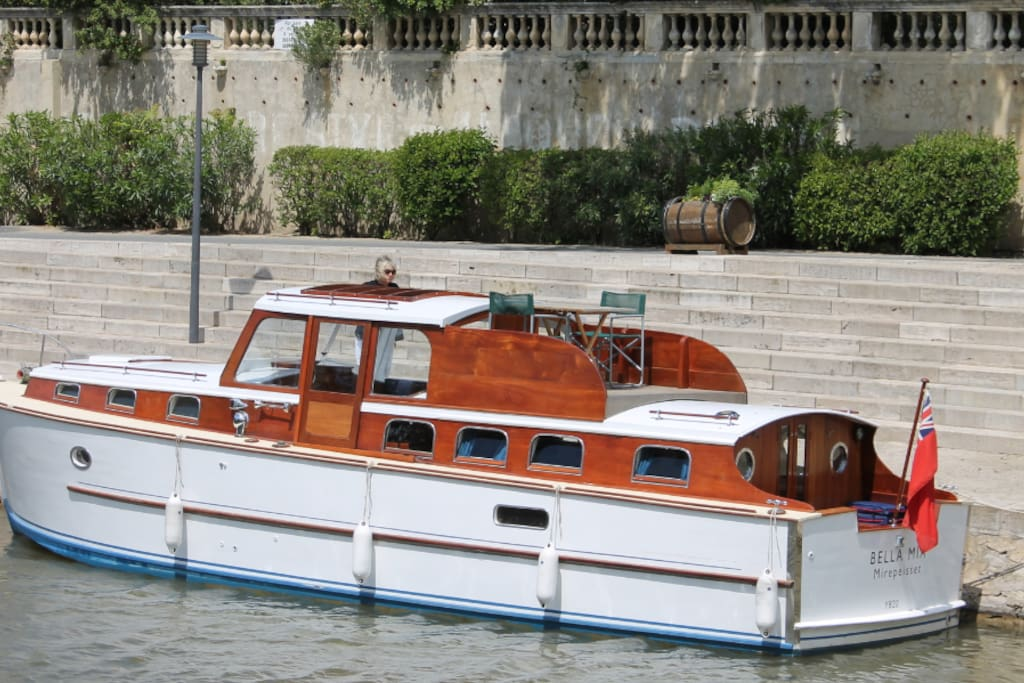 Another view of Bella Mia moored at Ventenac (for wine tasting!)