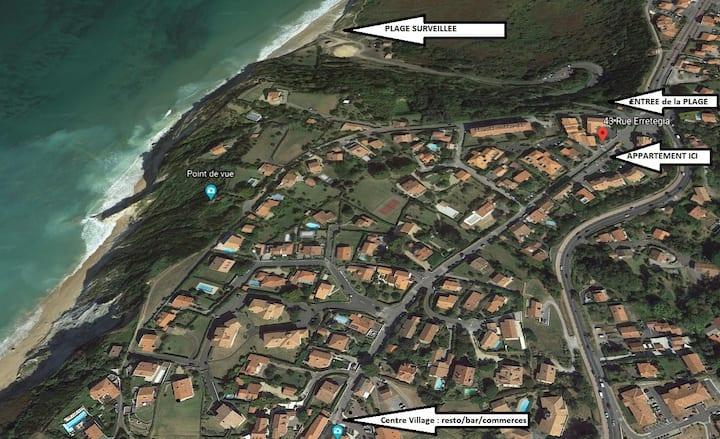 2 pers à 200 m de la plage, Wi-Fi  RdC