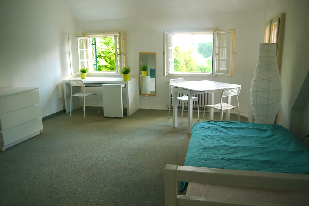 203 - Large, bright room with a double bed, plus 2 single beds optional, 3 windows view to the south