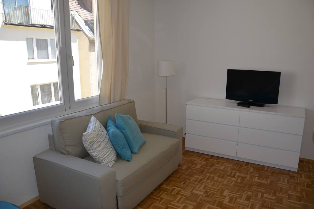 Living room with convertable sofa (120cm)