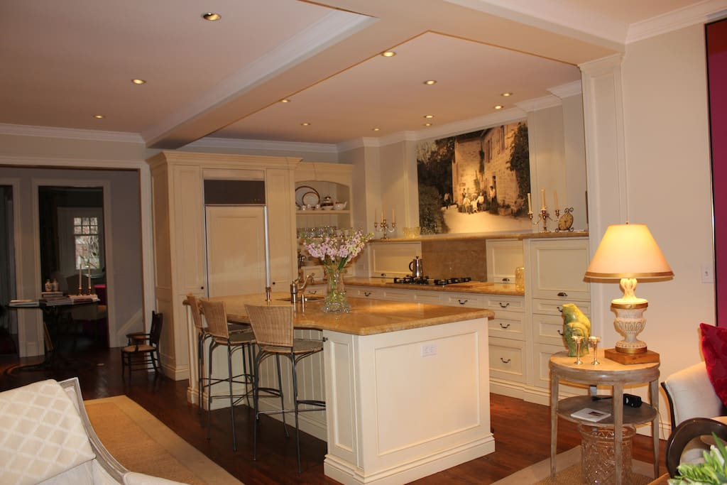 a chef's kitchen with a spacious island.