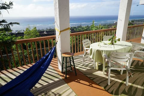 Enjoy the ocean view from the hammock and out dining area on Large lanai