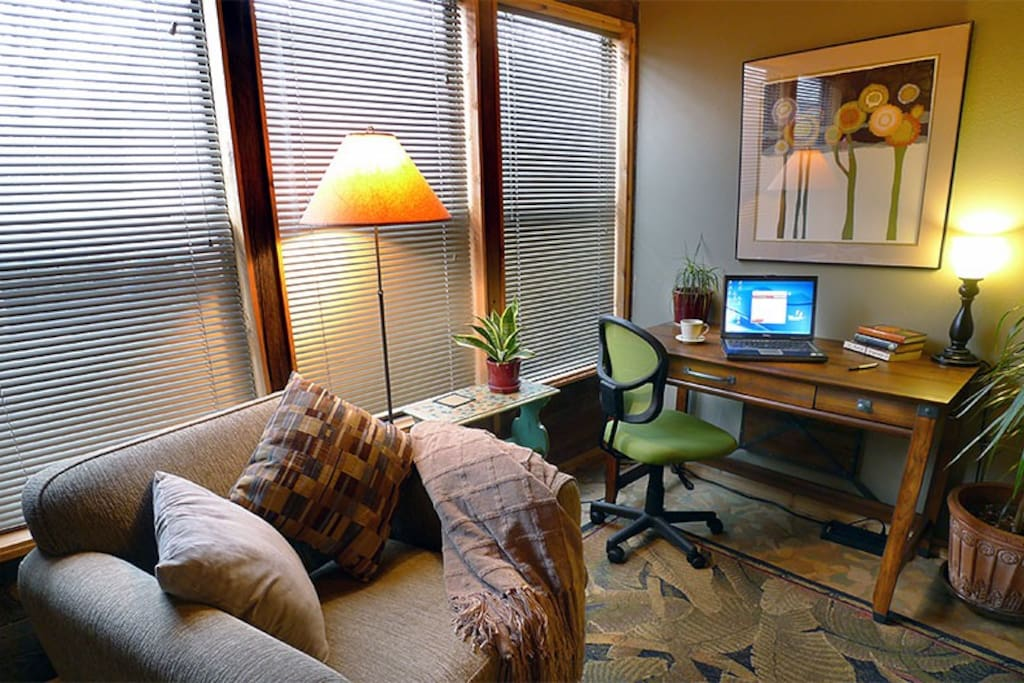 A comfortable study with desk and high-speed Internet