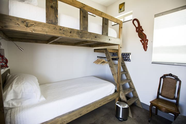 Note: The bunkhouse is NOT air conditioned. There is an oscillating fan available and screened windows to open.  It usually cools off at night, but during the summer some nights can be hot in the bunkhouse.  Use discretion when planning your trip