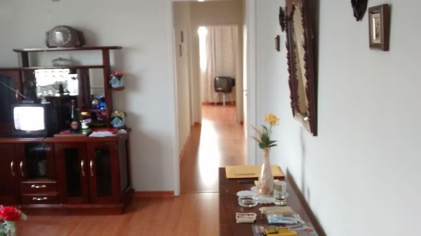 Vista da sala e corredor de acesso ao banheiro, cozinha e quarto de casal