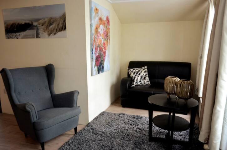 The sitting area. Het zitgedeelte.