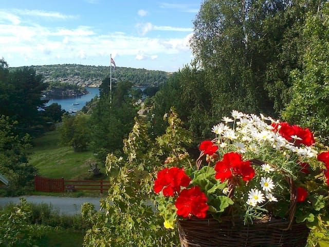 Newer cottage in green surroundings and sea view - Halden - Cabaña