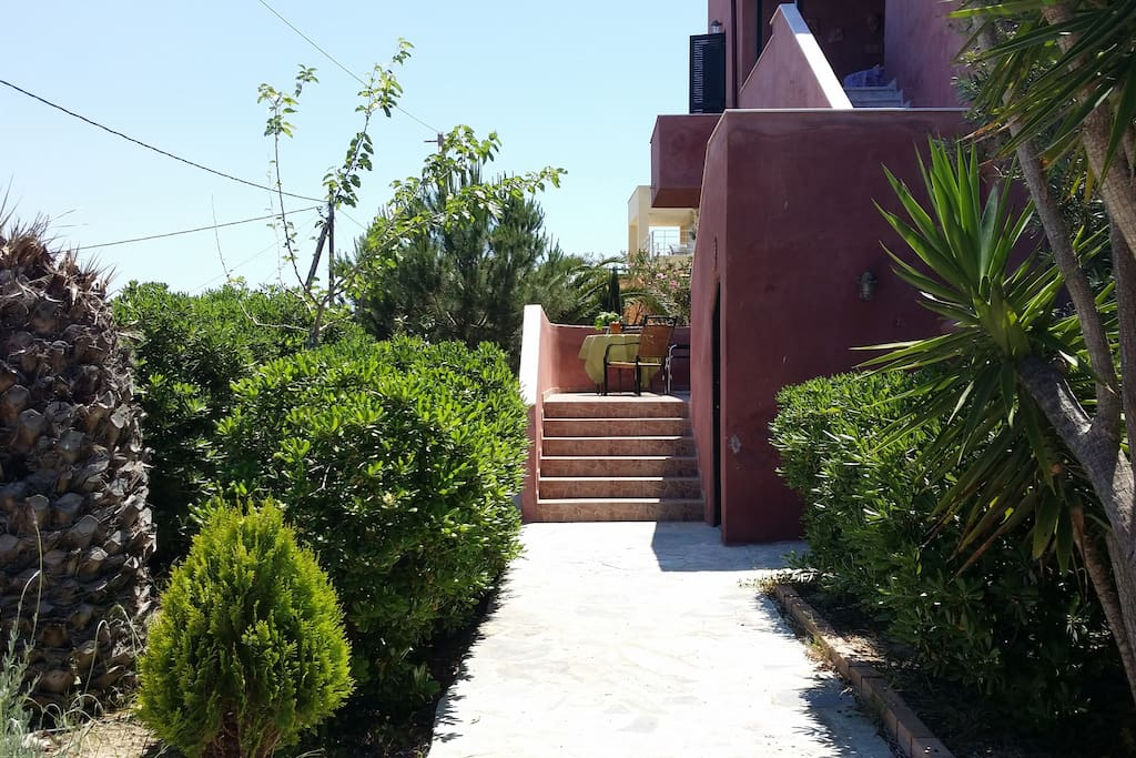 The pathway to one entrance of the house.