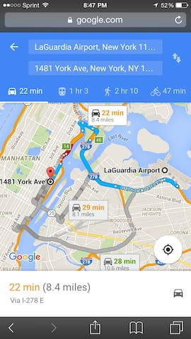 From LaGuardia Airport 22 minutes by car and If you select subway  one hour and 3 minutes.