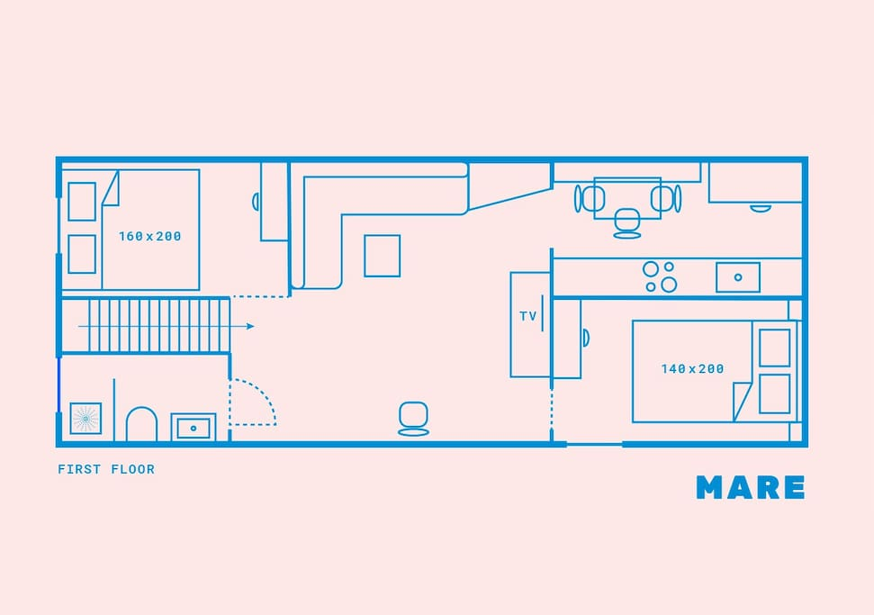Floorplan MARE. The apartment is located on the first floor
