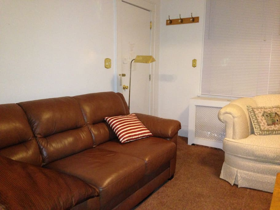 living room, two love seats and one large leather sofa, one loveseat is in dining room since that room is so large, plus has table that seats 6. Air conditioner