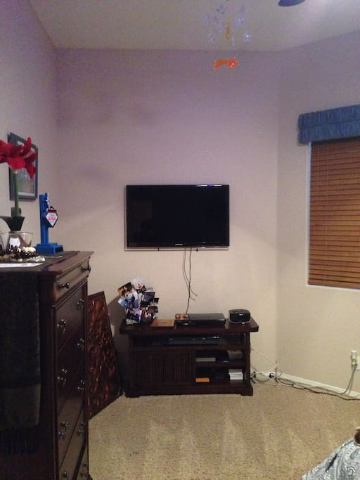 Cable TV with Blu-Ray player, full closet in Queen size bed bedroom.