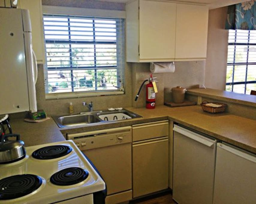 All accommodations come with full kitchen facilities that include a microwave and a dishwasher.