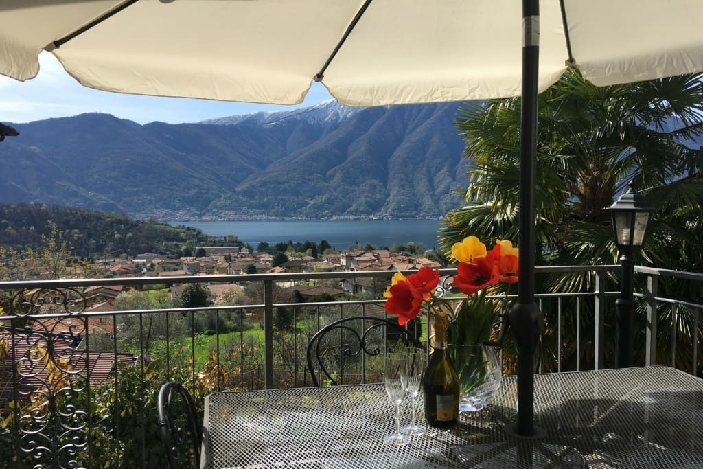 Relax and unwind while enjoying spectacular views over the sparkling crystal blue water of Lake Como and its surrounding mountains.