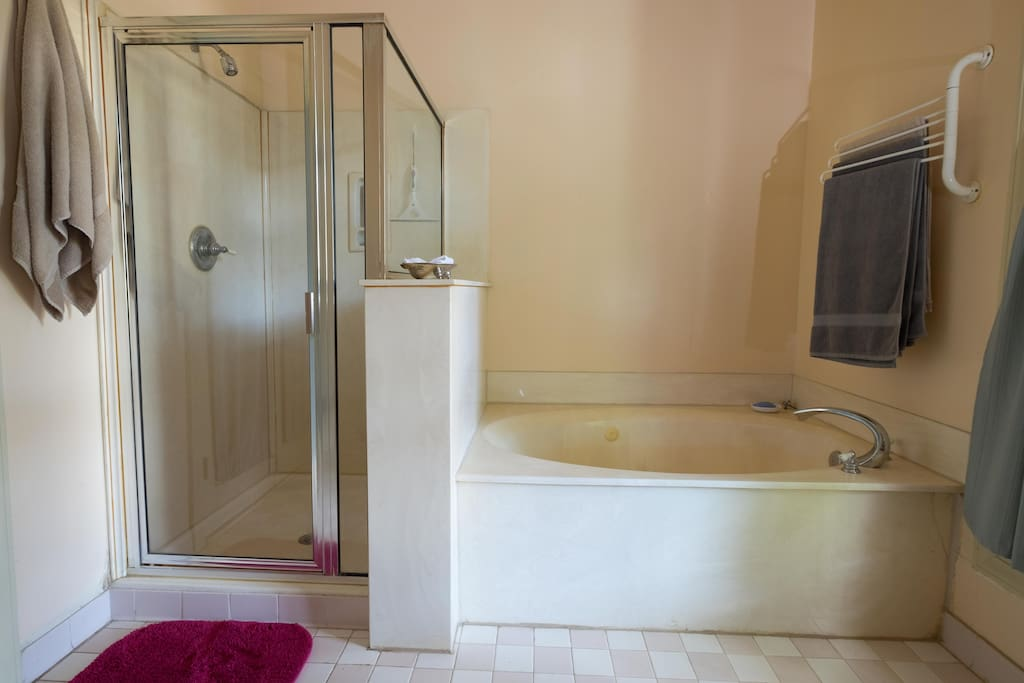 Spacious bathroom shower and whirlpool tub
