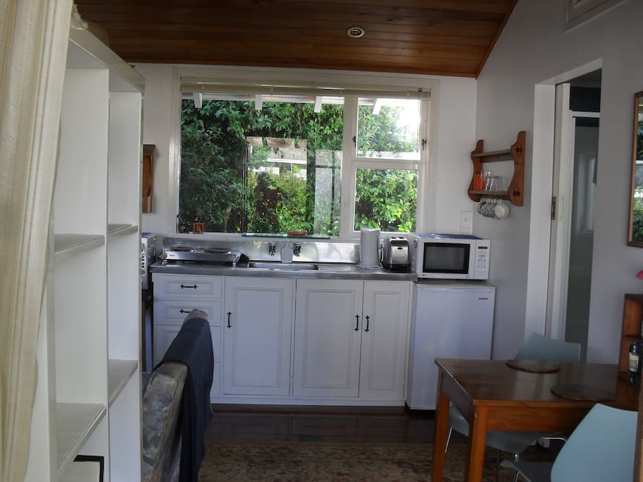 Kitchenette looks out onto a beautiful garden