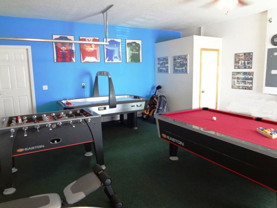 Air conditioned Games Room with Table Football, Pool Table, Air Hockey, Table Tennis, Weight Bench and Elliptical machine/X-Traine