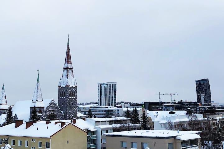 City view (Torni hotel, train station and Luminary)