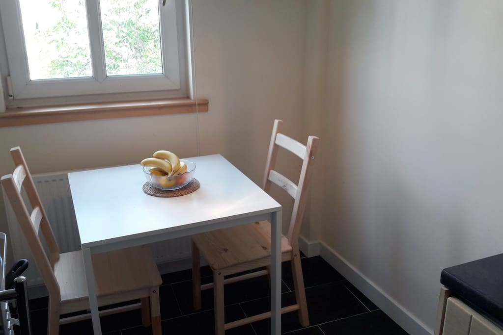 The breakfast nook: tea and coffee, toast and cereal for you in the morning.