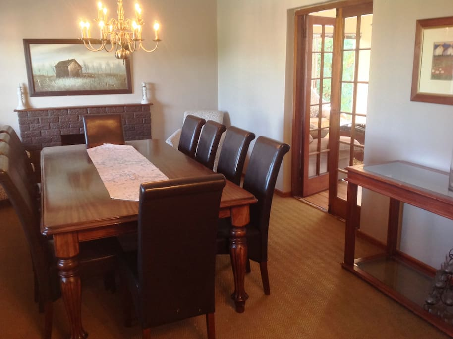 Dining room with french doors opening into livin