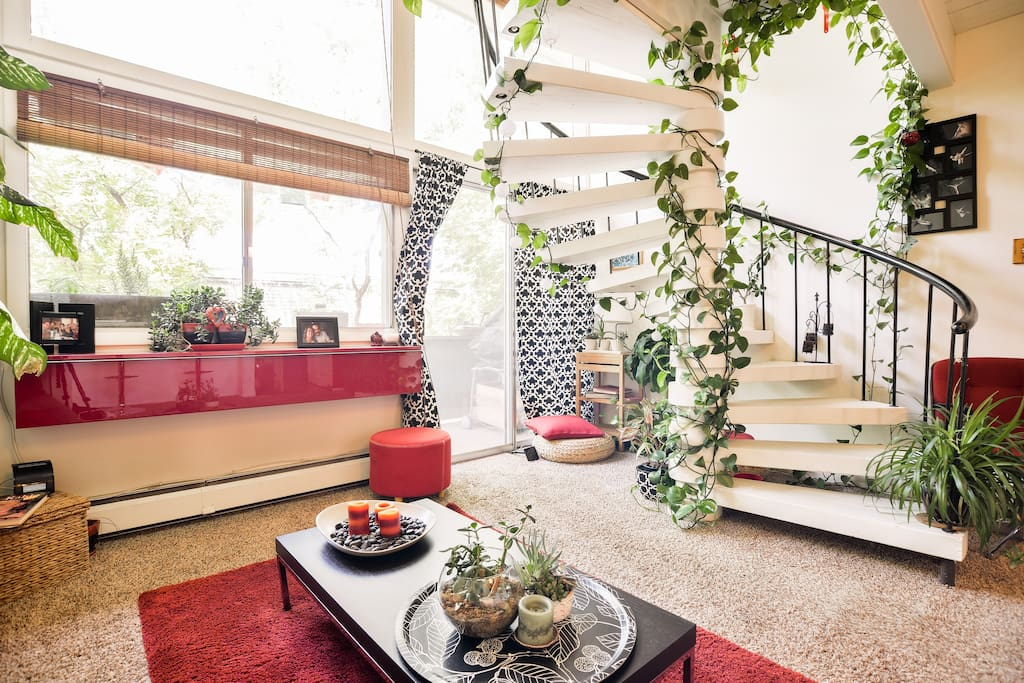 Spiral stairs/living room