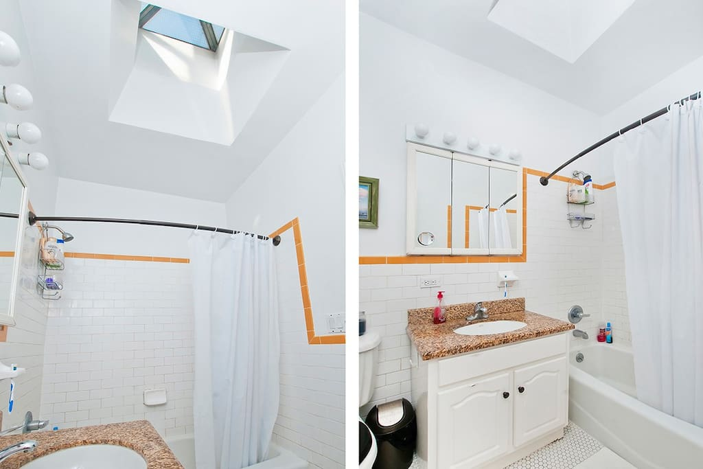 The skylight provides all the light you need in the restroom during the day - quite relaxing