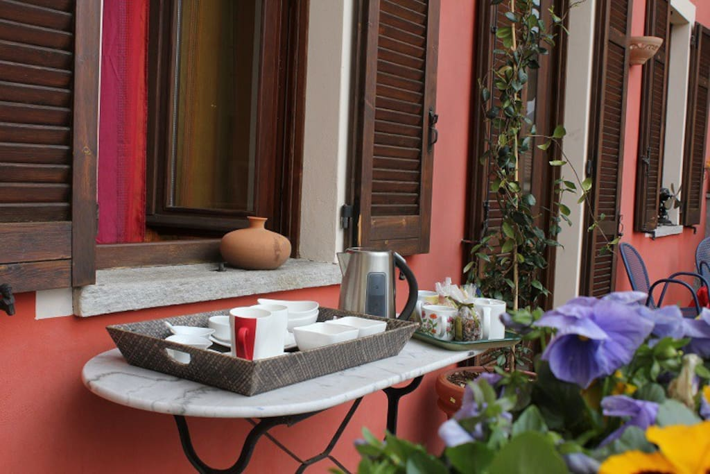 il terrazzo dove si può fare la colazione