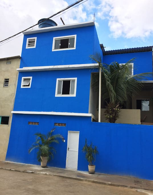 The house is newly renovated in a fresh blue color.