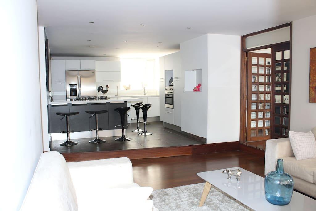 Sala y cocina al estilo Loft