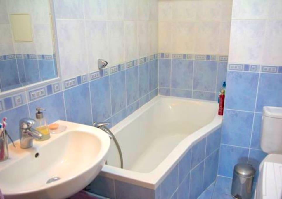 Blue bathroom with bath