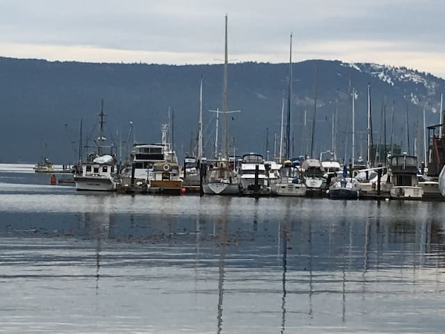 The Bay only a quick two minute walk down a hill to walk to the beautiful Cowichan Bay village