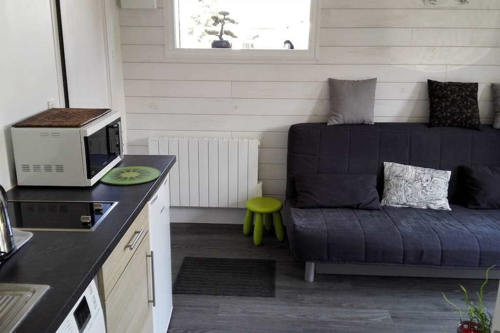 espace entre coin cuisine et coin salon (canapé...)