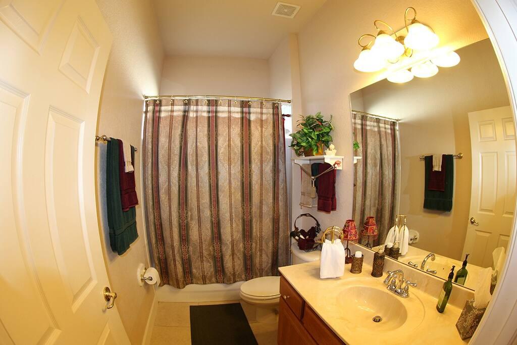 Bathroom for bath or shower.