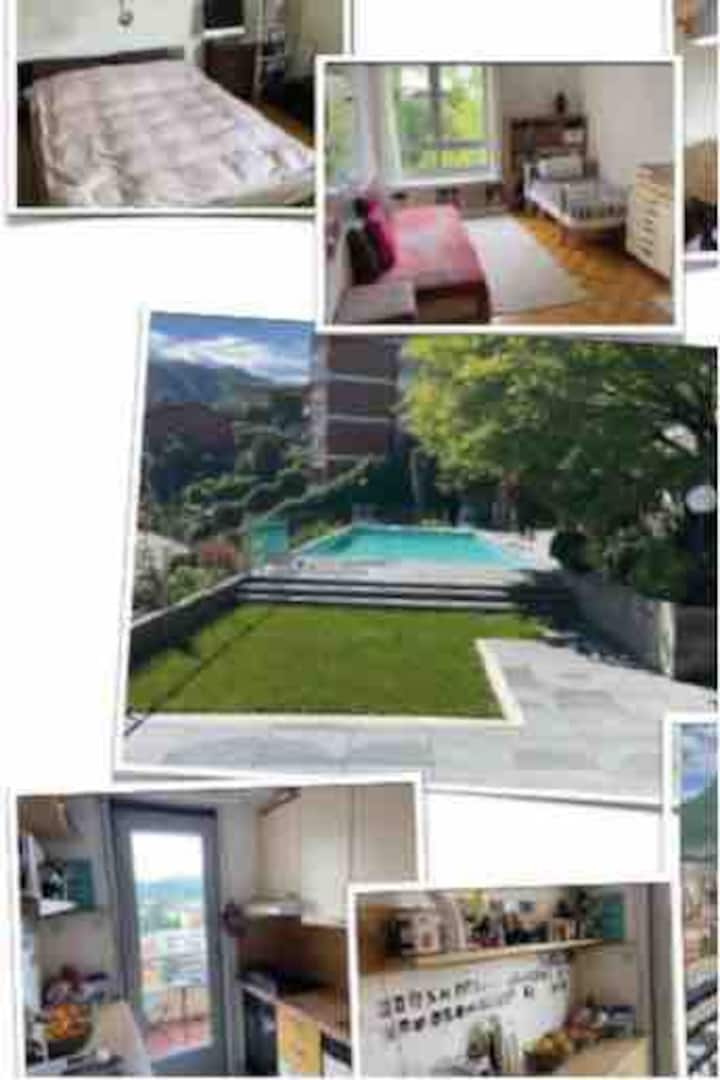 Lovely apartment with view & pool: close to city
