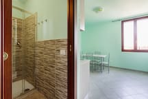The modern Bathroom with the shower