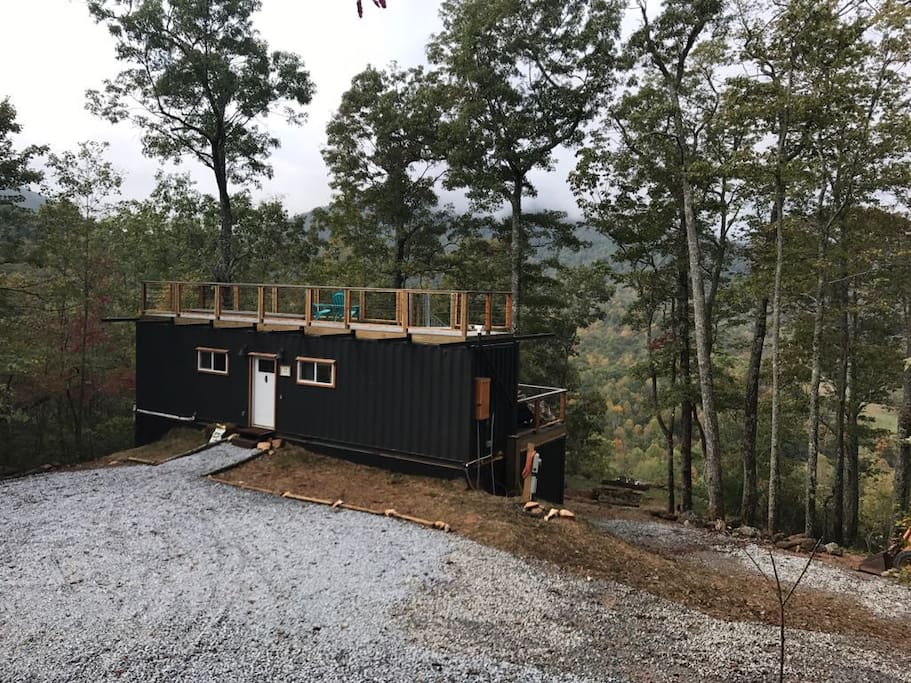 The front view of the Appalachian Mountain Container Cabin.