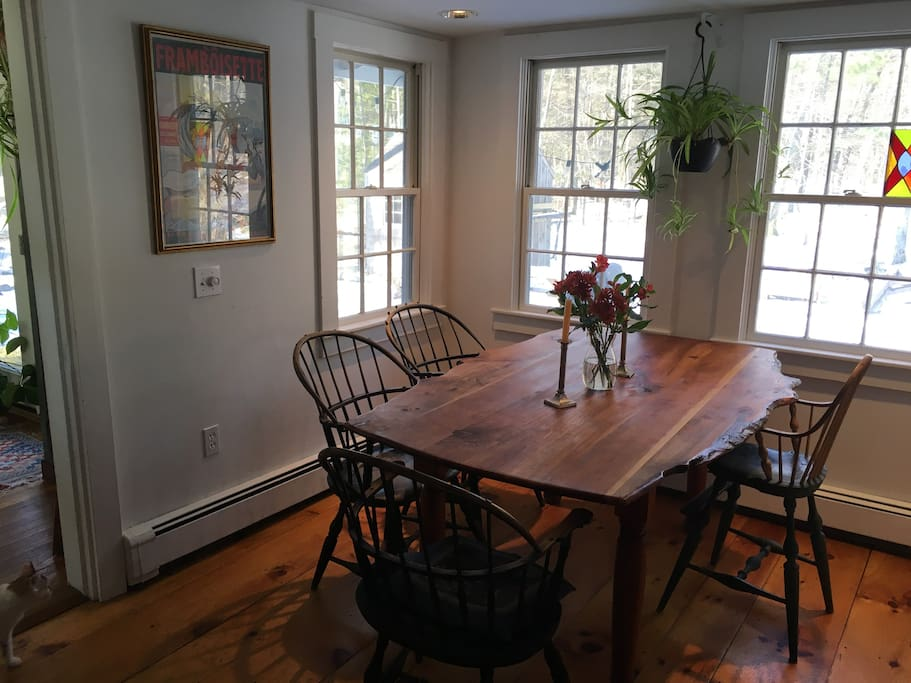 Dining area with country farm table