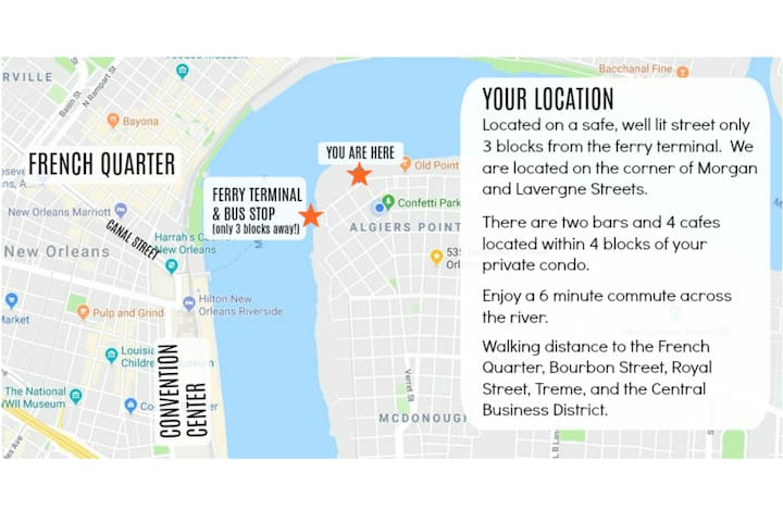 Here is a map to give you a precise idea of location. Our property is located 3 blocks from the ferry on a safe and well lit street.