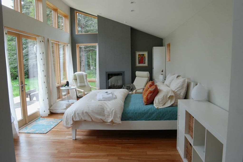 Great room with window wall