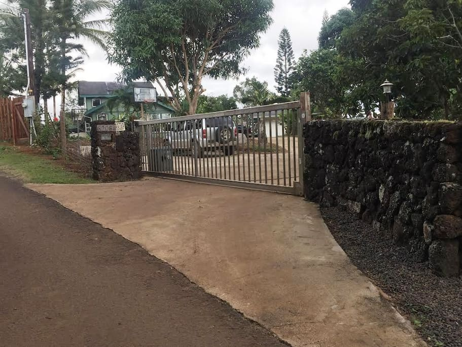 Gated entry drive to property