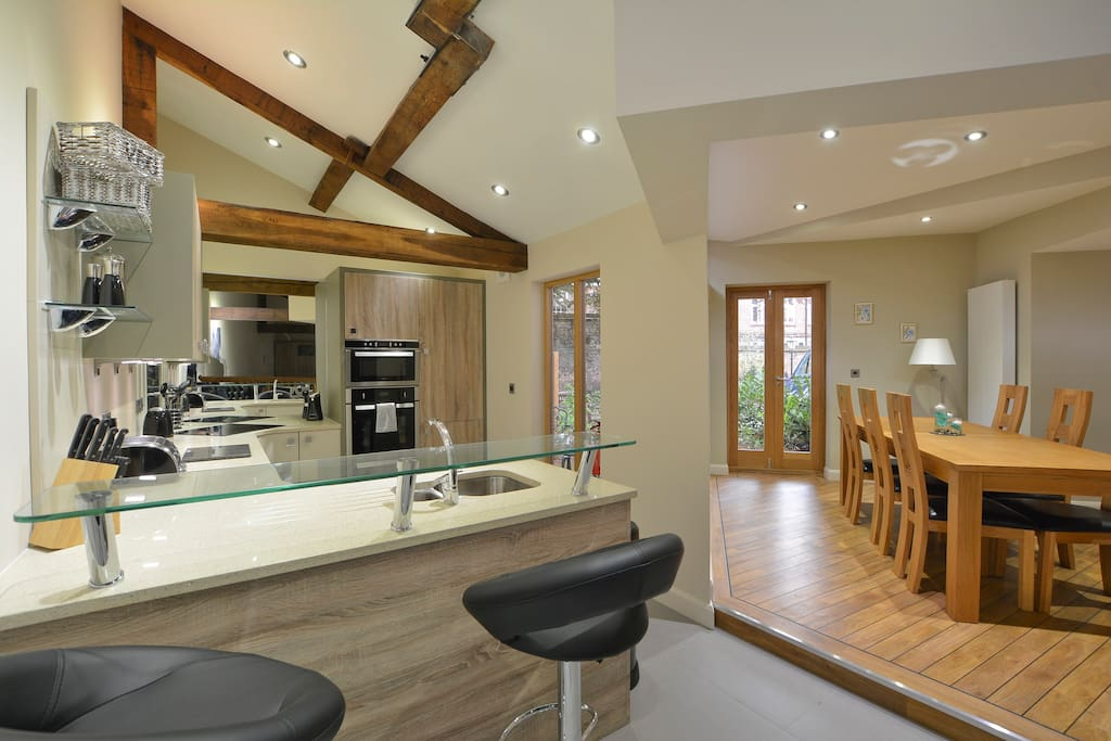 Interior featuring beams with high spec interiors.