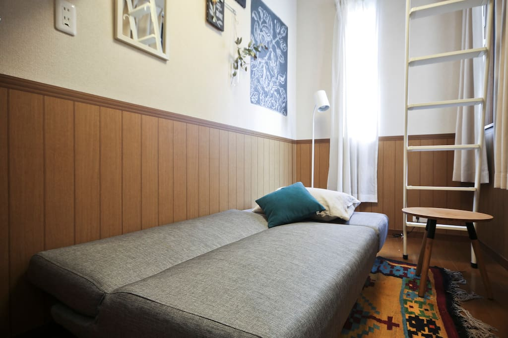 Spread sofa bed. The bed cover will be provided.