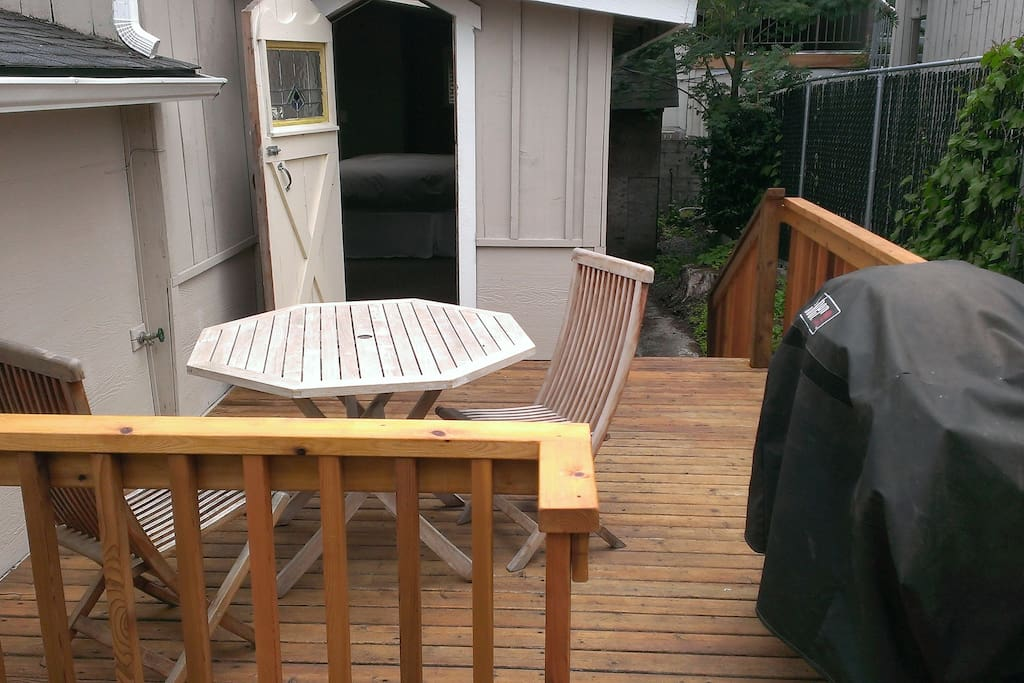 Back deck with seating for 4 and a propane BBQ to cook up some of the local finds!