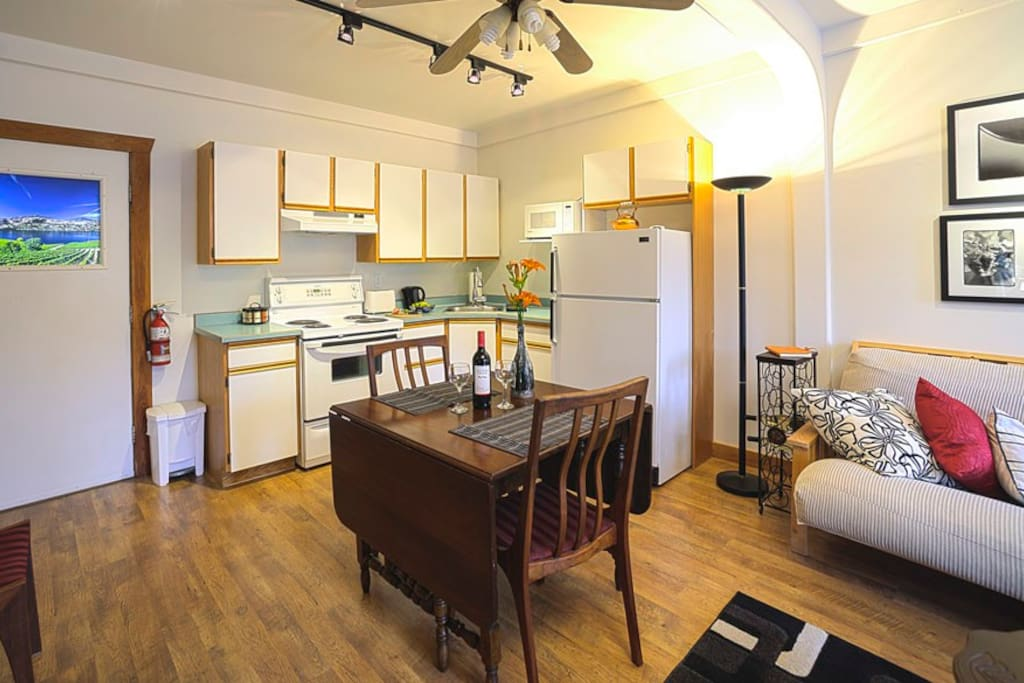 Spacious Studio Suite with full kitchen, Queen Bed and Queen Futon